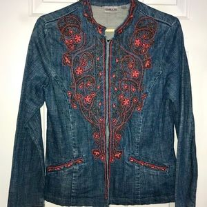 Chico's Jean Jacket with beautiful Red Beading
